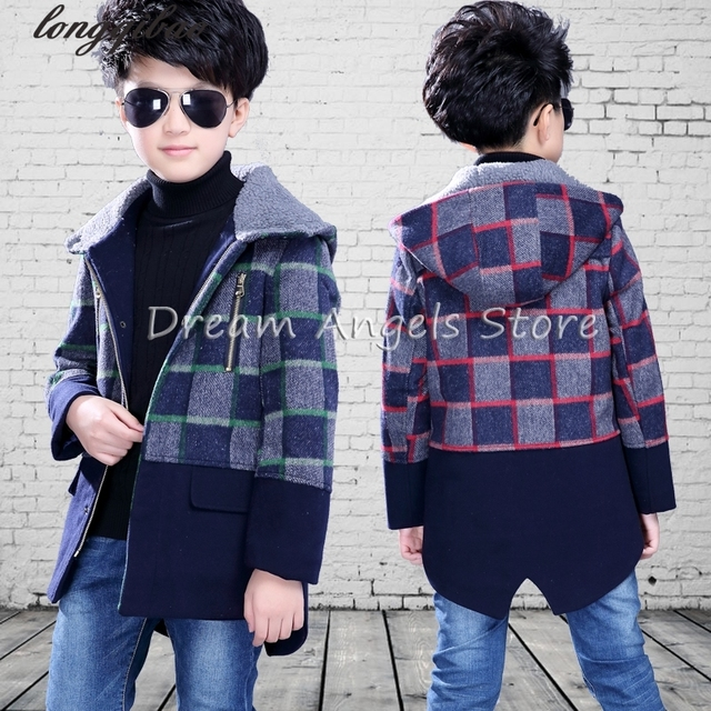 High quality New Boys Winter Coat Fashion zipper Solid Red plaid Kids Wool Hooded Coats Jacket Boys Children Fashion Outerwear