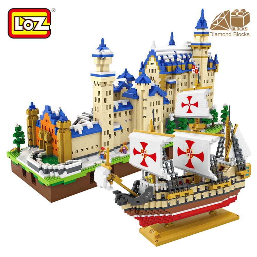 LOZ Diamond Blocks Santa Maria Ship Neuschwanstein High Speed Train Children DIY Assembly Mini Building Blocks Educational Toys cnc alloy rear bumper set fit hpi rovan baja 5t 5sc king motor truck free shipping