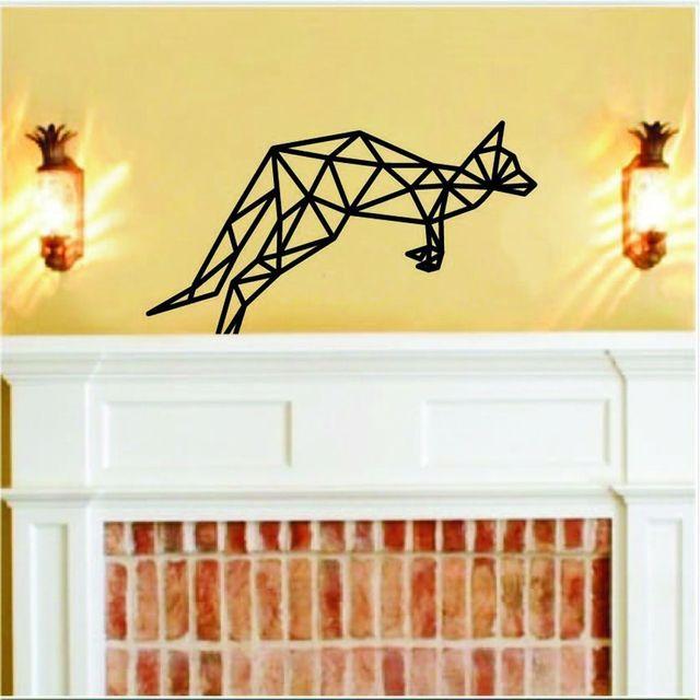 Geometric Art DIY Wall Sticker Kangaroo Wall Decor For Bedroom ...
