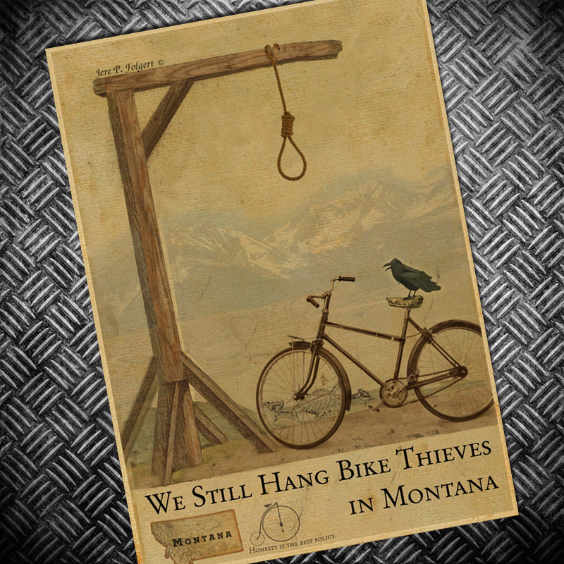 HDFree ship Retro poster riding Bicycle Bike Chart Vintage painting bar pub cafe wall art sticker classic print picture 42x30cm brompton stickers