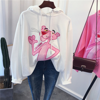 New Fashion Cute Hoodies Women Pink Panther Cartoon printing Loose thin Hoodies Sweatshirt in stock 213