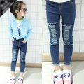 New Autumn Children's Mid Denim Jeans Knee Frayed Hole Jeans&2-8 Years Old Kids Trouser  Baby Girl Clothing kids toddler
