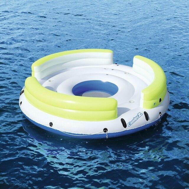 6 personne géant gonflable rond paresseux jour partie île flotteur bateau piscine flotte mer Longue lit eau jouets lac radeau