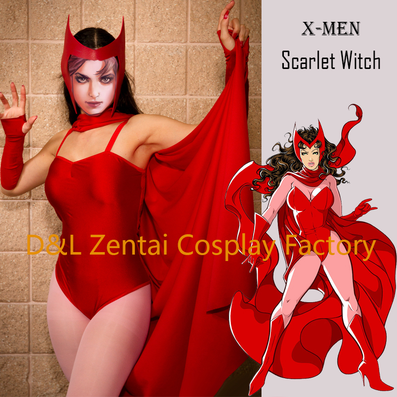 Free Shipping DHL 2016 Sexy X Men Red Scarlet Witch Costume Spandex Fancy Dress Halloween Cosplay Superhero Costume 16060702