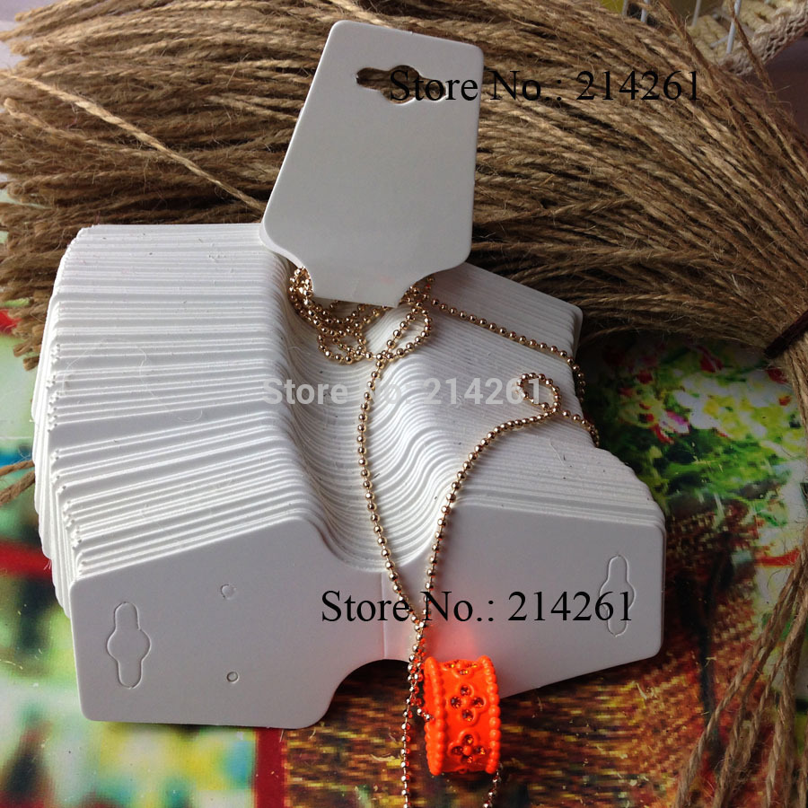 2015 New White Blank Paper Fashion Jewelry Display cards 120x45mm Necklace Cards, make your logo moq ;2000pcs