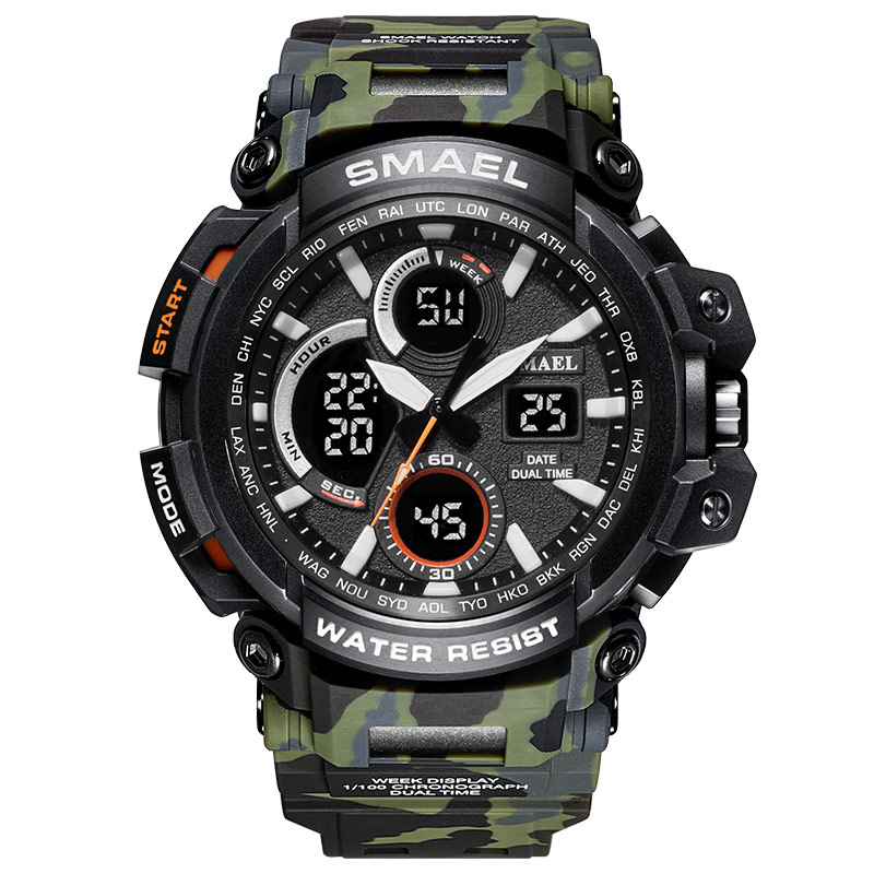 2018 SMAEL Watch Men Sports Watch Dual Time Camouflage Military Watch Men Army LED Digital Wristwatch 50M Waterproof Men's Clock