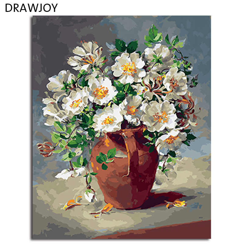 DRAWJOY Framed Flower DIY Painting By Numbers Wall Art DIY Canvas Oil Painting Home Decor For Living Room Wall Art