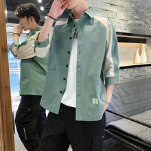 Fashion Color Men Half Sleeve Shirt Trends Patchwork Men Shirt Double Pocket M-3XL Men Half Sleeve Shirt