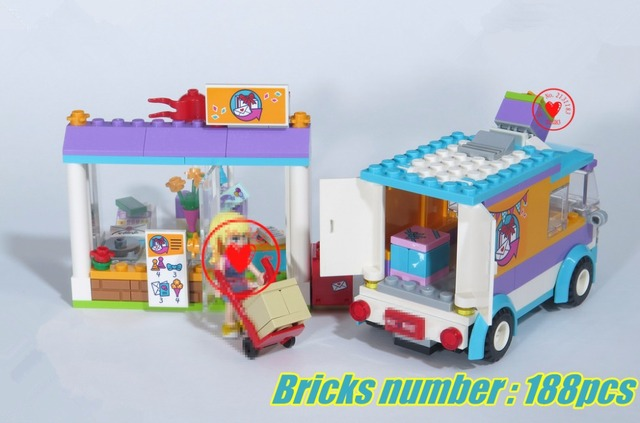 New Friends Heartlake Delivery Van Fit Legoings Figures Model Building Kit Block Bricks Diy Toys