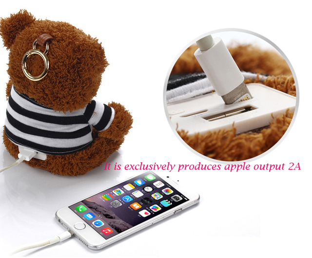Рекомендуем 10000 мАч Power Bank с плюшевым мишкой V8 двойной вход Внешнее зарядное устройство powerbank для мобильного телефона на открытом воздухе для девушка