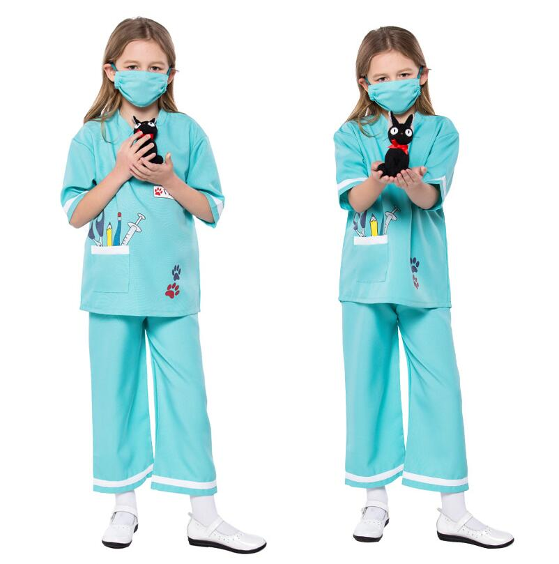 New Doctor Costumes Girls Nurse Cosplay Fancy Dress Kids Professional Mediciner Dress-up Clothing For Career Role Play Party
