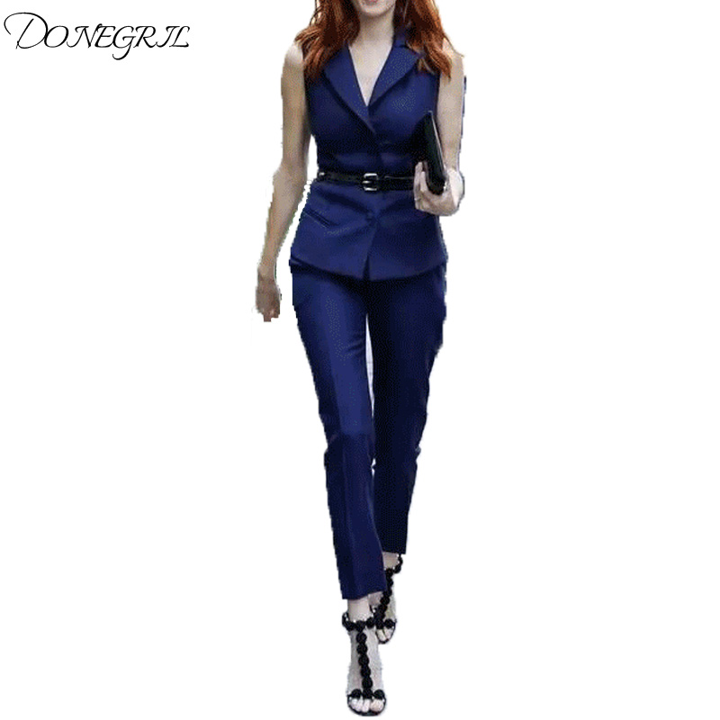 2018 Summer Style Fashion Womens Two Piece Clothes Set Elegant Turn Down Collar Vest Bla ...