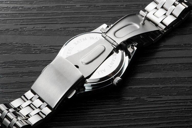 Kingnuos Tops Luxury Brand Men Full Stainless Steel Business Watches Men's Quartz Date Clock Men Wrist Watch relogio masculino 15