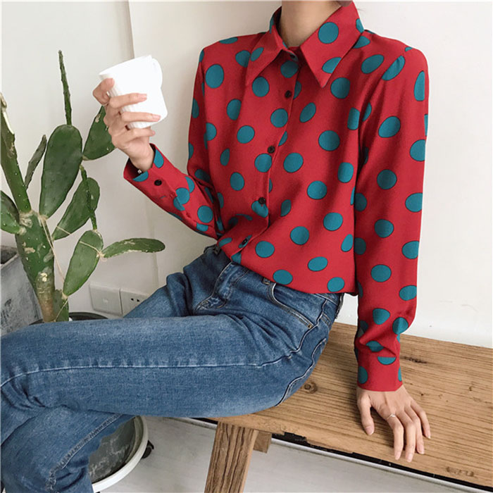 Fashion Style Streetwear Chiffon Tops Designer Fashion Brand Spring Women Blouses Turn-down Collar Shirts French Bulldog Blusa Vetement Femme Women's Clothing