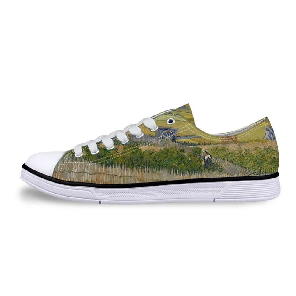 الرجال اللوحة غير رسمية الفن طباعة الأحذية الذكور الدانتيل متابعة مبركن منخفضة حذاء قماش حذاء مسطح ل boysفنسنت فان جوخ ماستر قطع