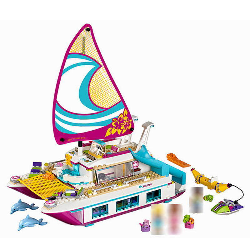 Compatible <font><b>Boat</b></font> Sunshine Catamaran Brick Girls For Legoing Friends Dolphin Cruiser Building <font><b>Block</b></font> <font><b>Toys</b></font> For Children Friend Gifts image