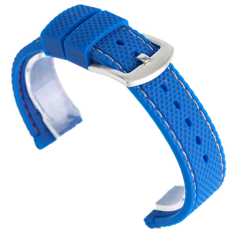 все цены на 18/20/22/24mm Silicone Rubber Watchbands Stainless Steel Buckle Stitched Watch Band Strap for Clock Replacement + 2 Spring Bars онлайн