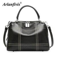 Arlanfivis Genuine Leather Full Grain Cow Leather Women Handbag Black Bag Purses Messenger Bags For Women Tote New 2018 Bolsas