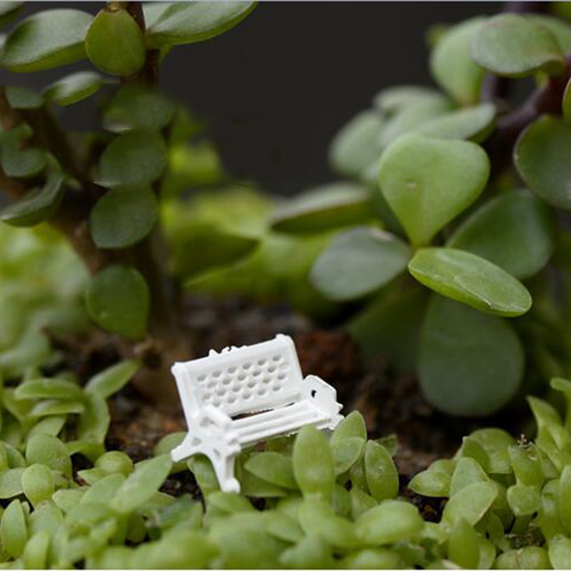 1pcs New Mini White Plastic Park Seat Bench Garden Ornament Fairy Dollhouse Decor Wedding Party Decoration 3 Size