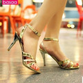 """Lady's 3.5"""" Big size(4 to 15) Sexy peep toe stiletto heels high heel sandal fashion sweet buckle strap Pumps Summer Silver/Gold"""