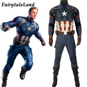 Image 1 - Avengers Endgame Captain America Cosplay costume full set Outfit Captain America Steve Rogers Jumpsuit customized 5 star Vest