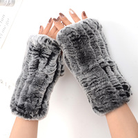 Fashion Female Natural Rex Rabbit Fur Hand Knit Half Finger Gloves Women Winter Thick Warm Wrist Long Great Elasticity Glove A56