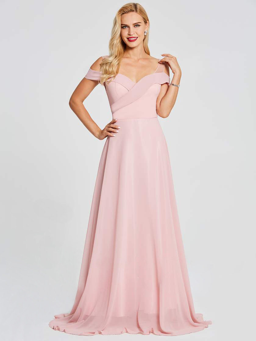 05fb19e3d6f5 Off Shoulder Backless Cheap Floor Length Chiffon Blush Pink Bridesmaid  Dresses 2018 A-Line Formal Party Prom Dresses
