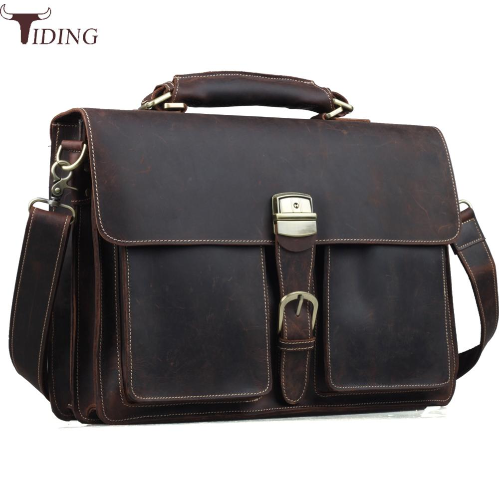 Tiding Genuine Leather Briefcase Mens 15 Inch Laptop Bags Tote Business Office Case Satchel Vintage Messenger