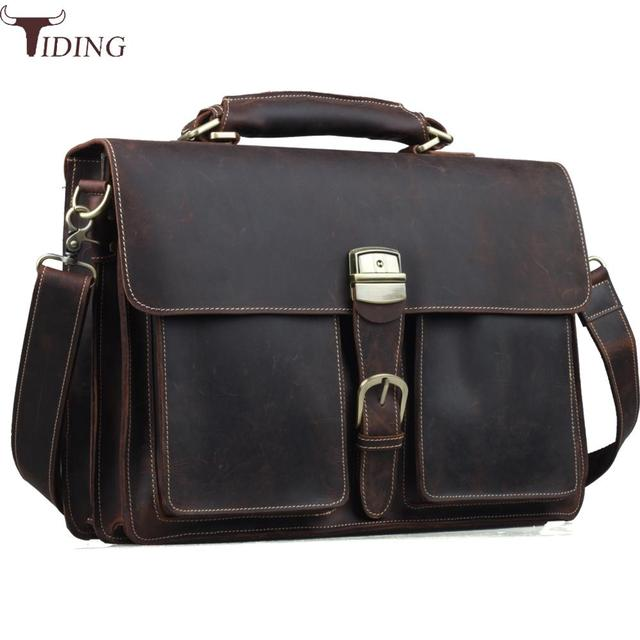 Tiding Genuine Leather Briefcase Mens 15 Inch Laptop Bags Tote Business  Office Case Satchel Vintage Messenger Bag Maleta Brown 5d0c1221ef247