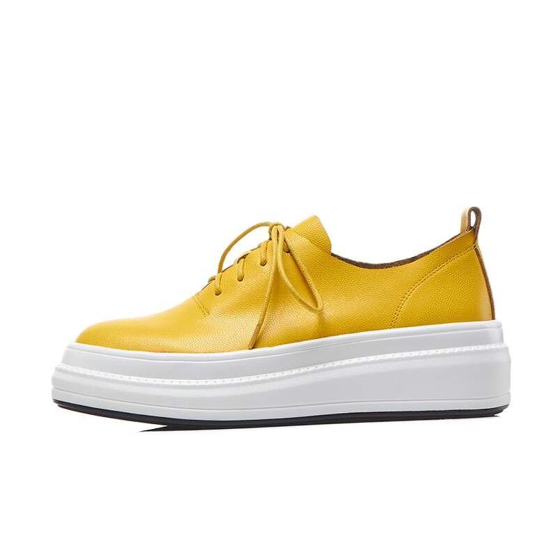 2019 nuevas zapatillas de plataforma planas de cuero genuino de maceta vintage con cordones de punta redonda zapatos de conducción casuales zapatos vulcanizados L6f3-in Zapatos vulcanizados de mujer from zapatos    3