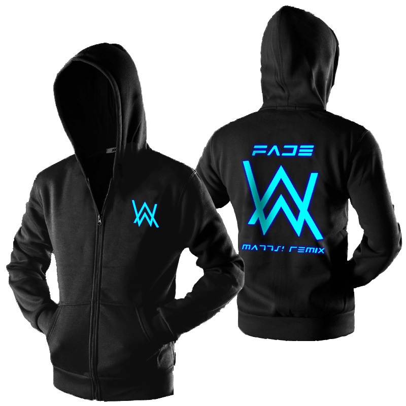 Pullover Hoodies Tracksuits Coat Jacket Dark-Sweatshirt Alan Walker Hip-Hop Glowing Zipper