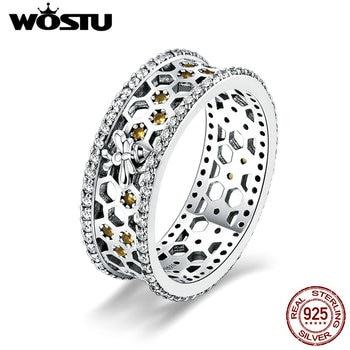 Anillos de lujo con diseño de nido de abeja de 7mm para mujer con diseño de Plata de Ley 925 100% auténtica wastu, joyería de plata 925 BKR391