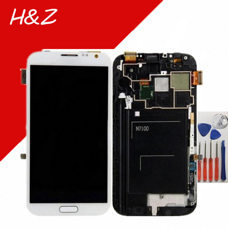 ФОТО White/Grey For Samsung Galaxy Note 2 N7100 N7105 LCD Display Touch Screen Digitizer Assembly With Frame+Tools