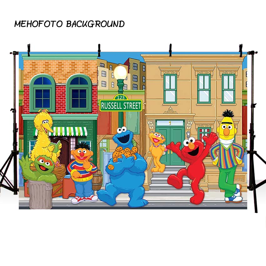 MEHOFOTO Birthday Photography Backdrops Sesame Street Elmo World Party Banner Photo Background for Pictures Customize girls birthday backdrops baby shower background black white stripe cosmetic invitation celebration table banner party allenjoy
