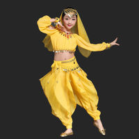 Belly Dance Costumes for kids Indian dance Bollywood Dancing 6 piece/Set Coins Top,Belt,pants,necklace,earrings and headwear