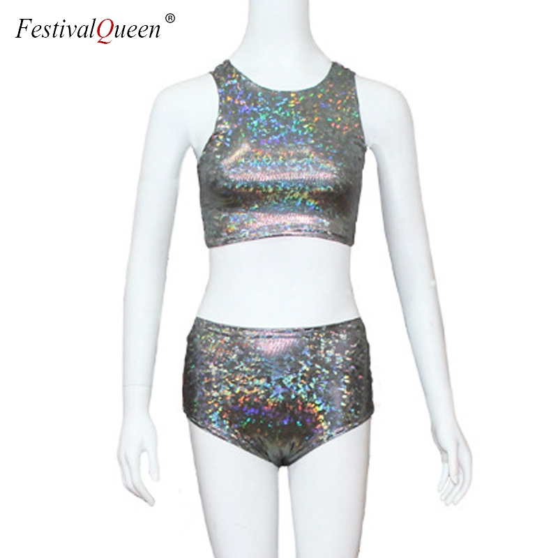 d00d708844bc FestivalQueen holographic crop top women 2 piece sets fetival rave clothes  wear outfits hologram tank top high waist hot shorts