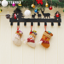 FUNNYBUNNY Christmas Candy Bag Stocking Mini Santa Claus Sock Gift Bauble Tree Ornaments Decoration