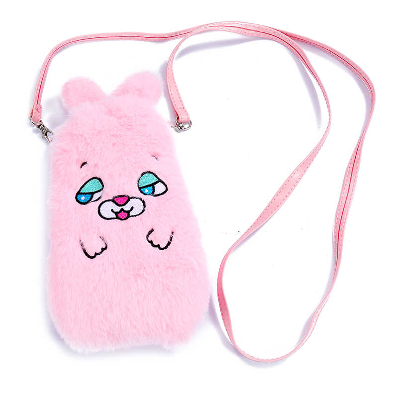 Lovely plush fur strap women crossbody bag funny animal cell phone pocket card holder wallet pouch case for iphone 7 Samsung