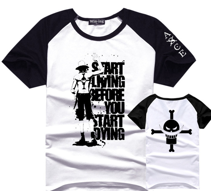 One Piece Portgas D Ace T Shirt Men Boy Cotton Tee Anime T-Shirts Tshirt