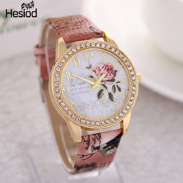 2018 New Fashion Chinese Style Peony Pattern Watch Gilt Digital Quartz Casual Leather Clock Women Dress Cartoon Wristwatch Hot