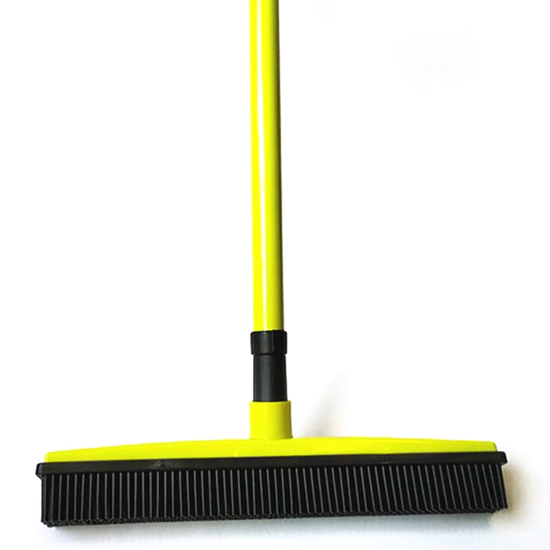 Rubber Broom Bristles Sweeper Squeegee Scratch Free Bristle Long Push Broom for Pet Cat Dog Hair Carpet Hardwood Windows Clean image
