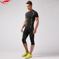 Compression Half Leggings Running Tight Fitness Suits Compression Set Mens T Shirt Gym Clothing Crossfit Tights