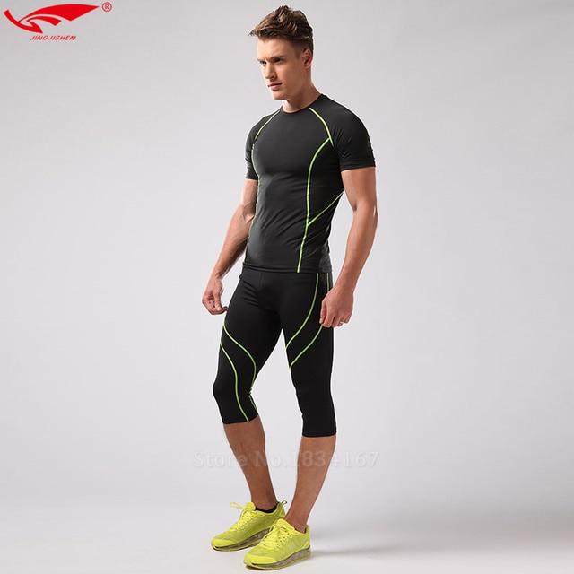 41e770be0 Compresión media Leggings Correr apretado fitness Trajes compresión  camiseta para hombre gimnasio ropa + CrossFit Medias