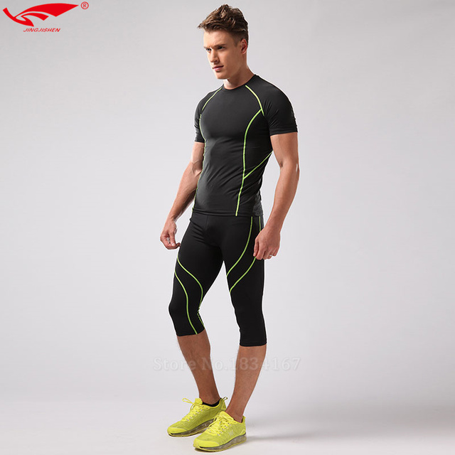 Compression half Leggings Running Tight Fitness Suits Compression Set Mens  T-shirt Gym Clothing + Crossfit Tights 3 4 Pants New a0ee0853c