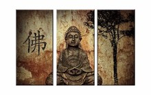 3 Pieces Framed Print Quiet Buddha Head Picture Poster Modern Home Decor Wall Art Halloween Painting on Canvas