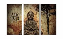 3 Pieces Framed Print Quiet Buddha Head Picture Poster Modern Home Decor Wall Art Print Halloween Painting on Canvas Poster(China)