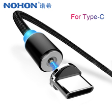 NOHON LED Magnetic Charge Cable USB Type C Phone For Xiaomi Mix2 S Huawei P20 P20pro V10 Magnet Fast Charger Cabel 1M