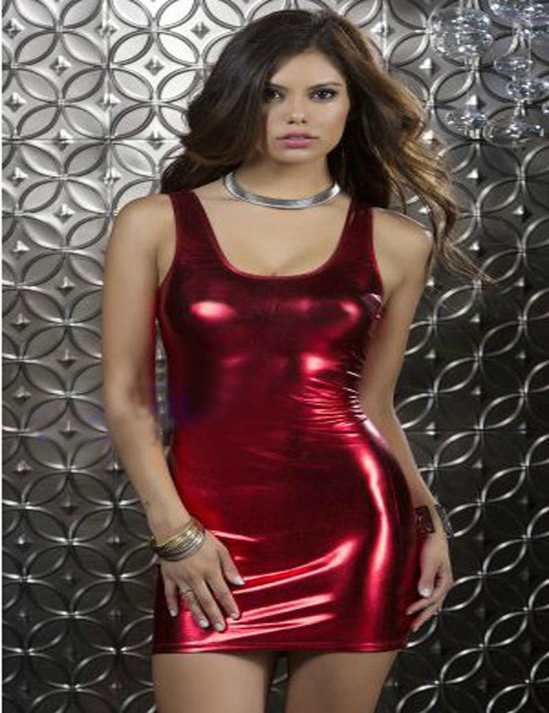 18a4fd8ceb18fd US $14.45 15% OFF New Arrival Sexy Nightclub Red Shiny Mini Dress Party  Night Bar Club Dress Sheath Bodycon Wetlook Sexy Backless Costumes-in  Dresses ...