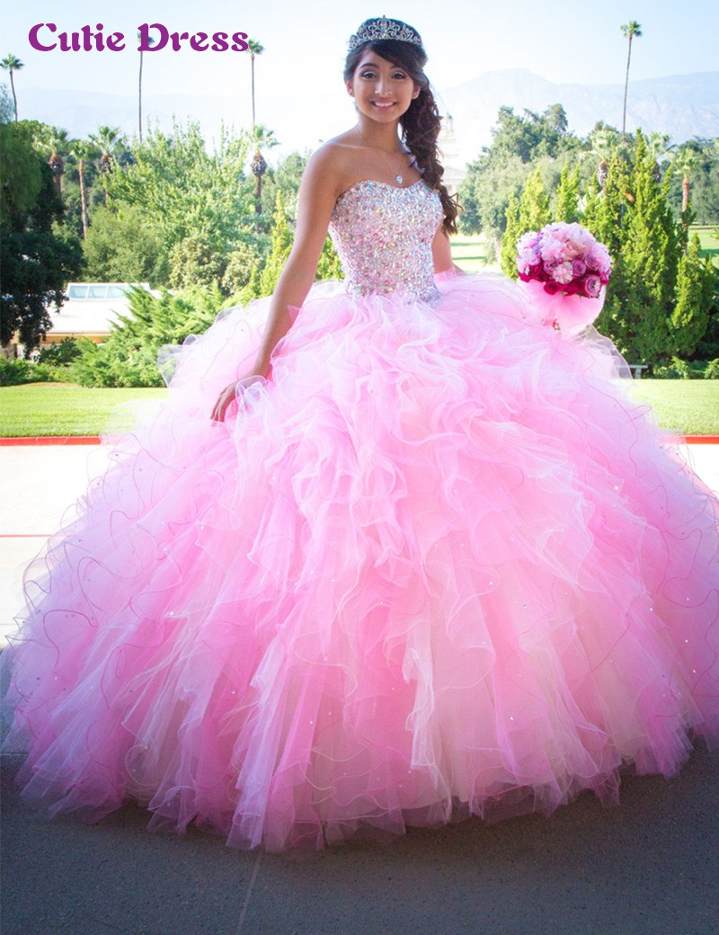 Aliexpress.com : Buy Pink Ball Gown Puffy Quinceanera Dresses ...