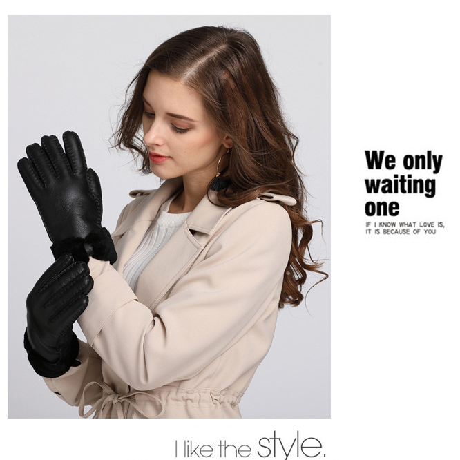 100 Genuine Fur Warm Gloves for Women 2019 Winter Warm Real Fur Gloves Female Real Leather Gloves Lady Thick Mittens Guantes in Women 39 s Gloves from Apparel Accessories